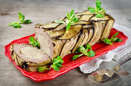 meatloaf: Terrine - casserole of meat, vegetables and pasta. Oven Baked meatloaf.