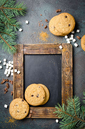 Chalkboard, homemade Chocolate Chip Cookies and marshmallows.
