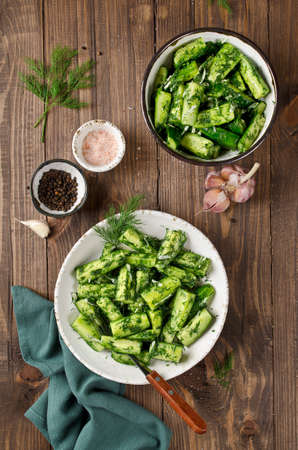 Salad of pickles with garlic and dill. Vegetarian cuisine