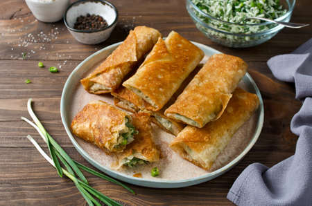 Tortilla wraps with cheese and green onions. Home baking Stockfoto