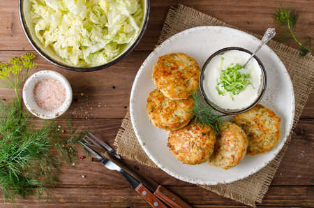 Chicken cutlets with dill and Tartar sauce. Healthy home food for dieting. Stockfoto