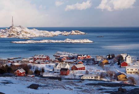 Small fishermens village of A on Lofoten, Norway Stock Photo