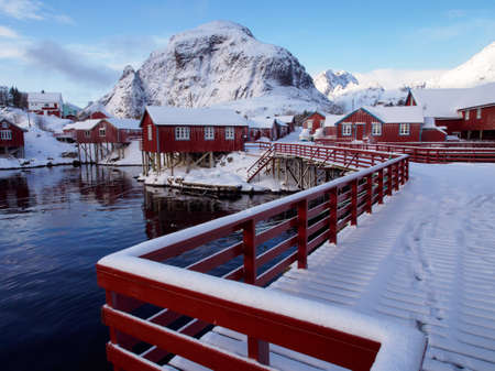 Traditional fishermens cabins in the village of A on Lofoten, Norway