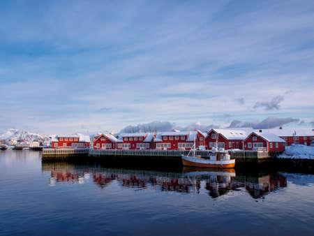 Fishing boat in port of Svolvaer, Lofoten, Norway Stock Photo