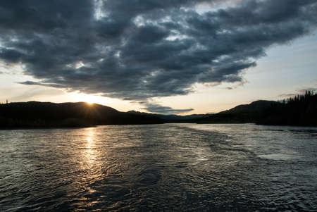 yukon territory: Sunset at Teslin river in Yukon territory, Canada