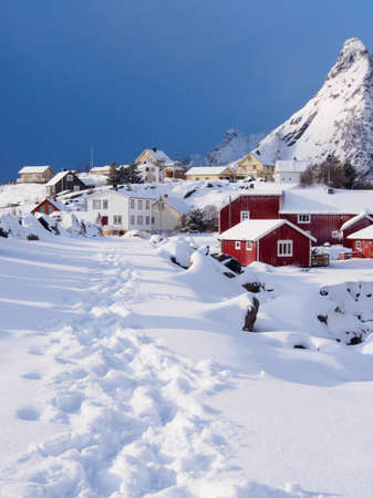 snowcovered: Snowy path in village of A on Lofoten, Norway