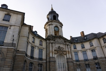 Mairie de Rennes, Rennes France city hall building from in front in the evening