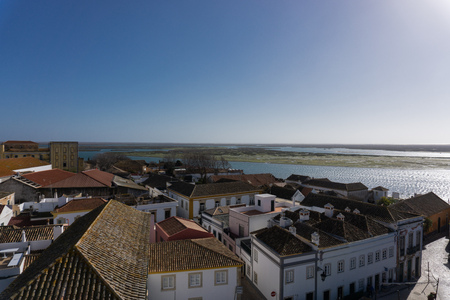 View from above of Faro Portugal and the lagoon ria formosa