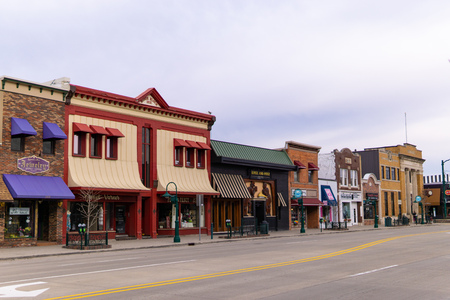 Shops along mains street in downtown Rochester Michigan