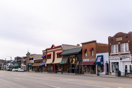 Shops along main street in downtown Rochester, Michigan
