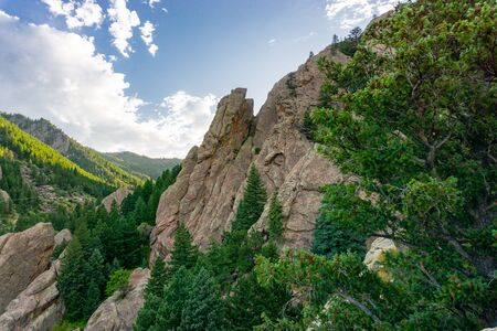 Beautiful cliff scene with evergreens in Boulder Colorado