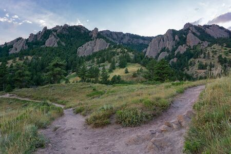 Sunset over hiking trails in the flatirons Boulder Colorado