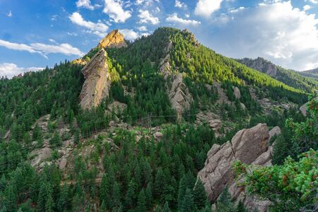 View from the flatirons in Boulder Colorado hiking and rock climbing destination Banco de Imagens