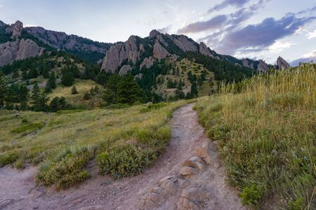 Warm summer sunset in the flatirons in Boulder Colorado Banco de Imagens