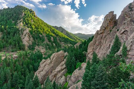 Beautiful view of the flatirons in Boulder Colorado rock climbing