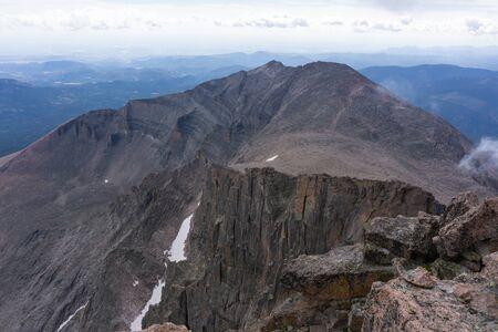 View of the diamond from the summit of Longs Peak in Rocky Mountain National Park