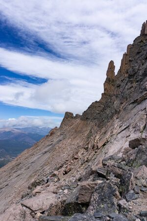 Beautiful stone tower formations on Longs Peak Banco de Imagens