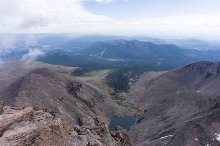 View from summit of Longs peak Rocky Mountain National Park