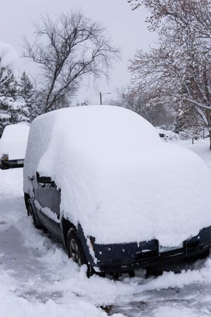 Car buried in snow in Colorado