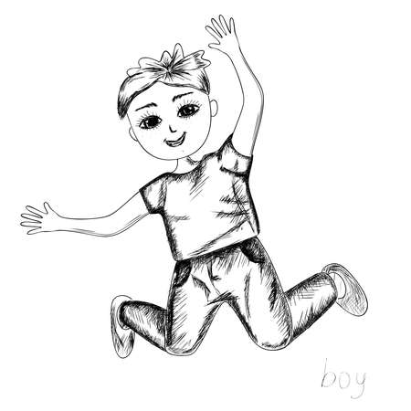 Cute little boy smiles and jumps in the style  with black pencils on a white background. Isolated. Vector.