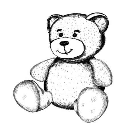 Cute little toy Teddy bear in the style of hand-drawn pencils in black on a white background. Isolated. Vector. Sketch