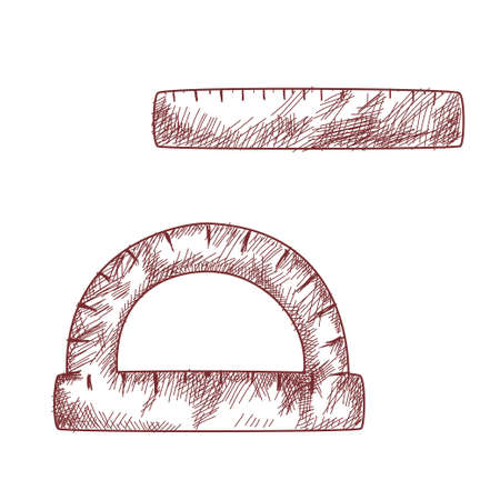 School supplies. Ruler and protractor in the style of a hand drawing with hatching on a white background. Ilustração