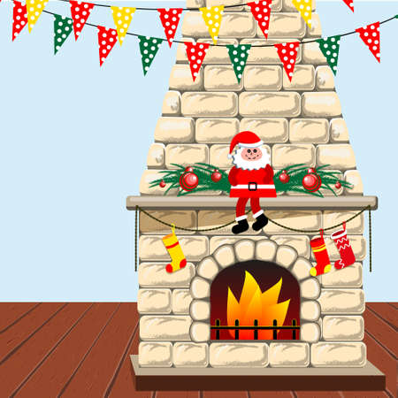 Merry Christmas and New year holiday decoration. Fireplace with Christmas stockings, toy Santa Claus and garlands. Vector illustration