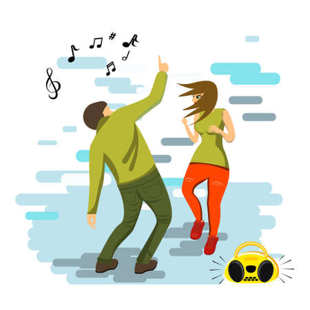 A young couple is dancing a modern dance. Flat style. vector illustration