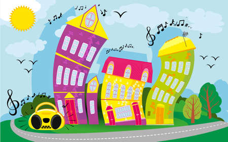 Cartoon cool landscape with a hill and a road. Dancing city. Funny houses dance. vector background. flat children s style