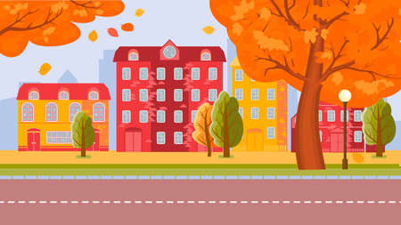 City street of the autumn city. a warm, clear day. Leaves fly off the trees. Vector illustration