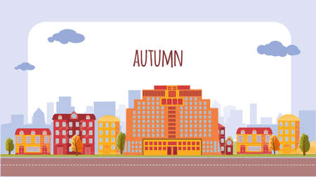Urban desolate landscape with high-rise buildings and a straight road. With an empty white space for the label. Autumn. Vector illustration