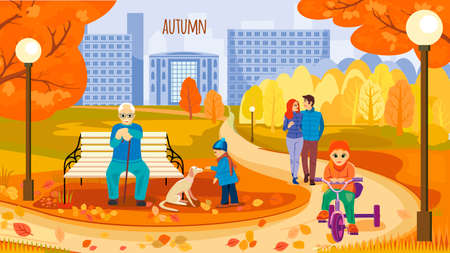 Urban landscape with high-rise buildings and a path in the city Park. A lot of people walk in the Park. Autumn. Vector illustration Illusztráció
