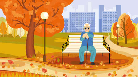 Autumn city with multi-storey buildings. City street in a flat style. An elderly man is sitting on a bench.Vector illustration