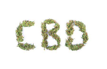 Top view of sign CBD made of fresh green marijuana flowers or buds isolated on white background. Alternative treatment. Medical cannabis. Standard-Bild
