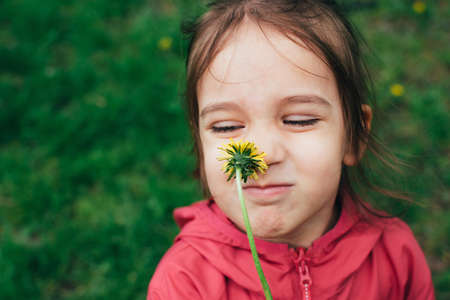 Portrait of cute little toddler girl smelling a dandelion yellow flower over natural green background outdoor. Real genuine life moments. Happy childhood.