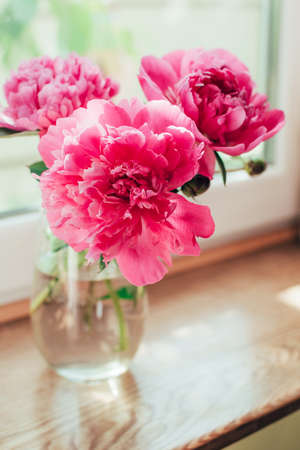 Beautiful bouquet of pink peony flowers in vase in sunlight on a wooden windowsill. Vertical image.