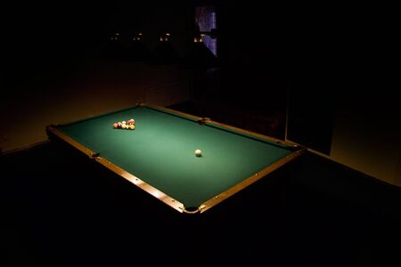billiards tables: Racked billiard balls, ready for the break