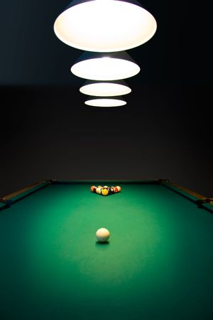 billiards: Racked billiard balls, ready for the break