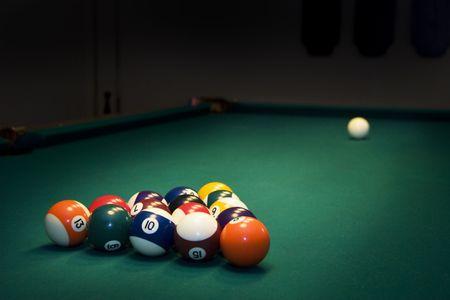 Racked billiard balls, ready for the break