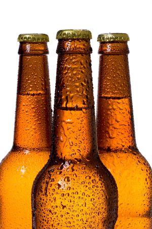 pilsner beer: Bottles of Beer over White