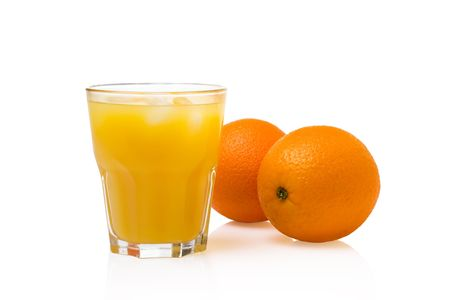 A Glass of orange Juice with Fruit. photo