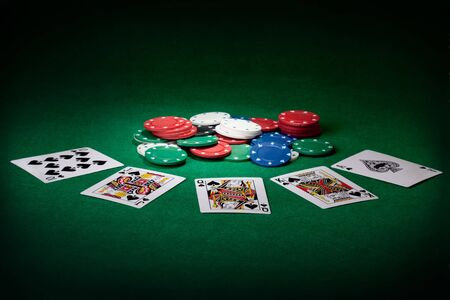 poker chips: Stack of chips and Royal flush
