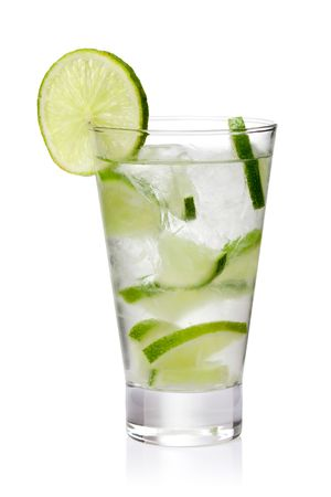 gin: cold fresh lemonade.  Isolated on white background Stock Photo
