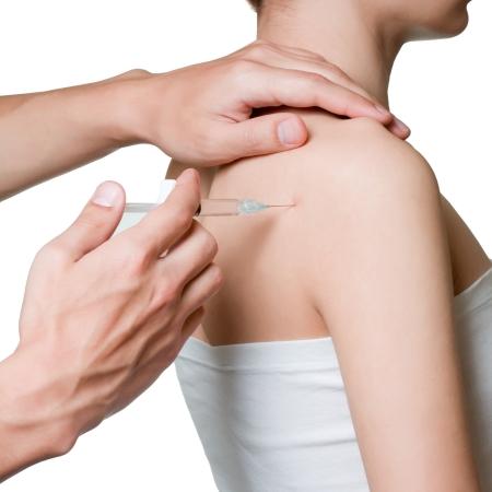 hand on shoulder: intra-articular injection