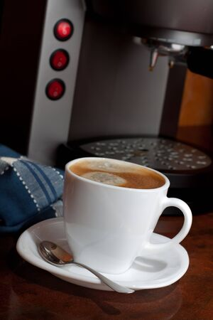 Hot espresso  coffee in a White Cup Stock Photo - 7604024