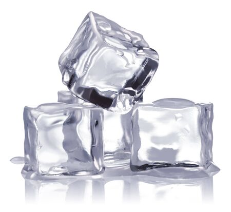 froze: ice cubes isolated on white