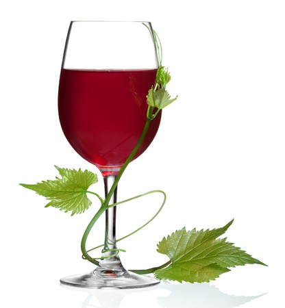 Glass of red wine and grape leaves on a white background and with soft shadow. Stock Photo - 7603759