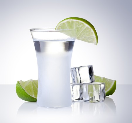 vodka: shot glass filled with clear cold alcohol