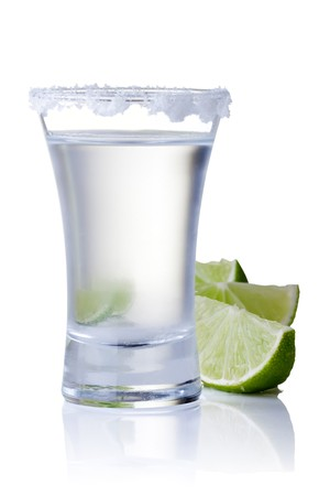 tequila: shot glass filled with clear cold alcohol