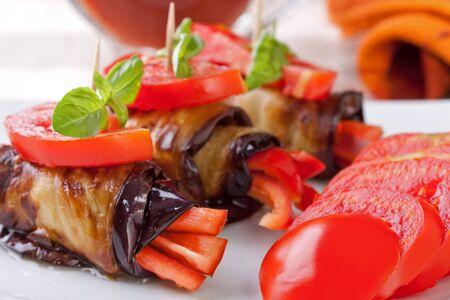 Eggplant rolls stuffed with pepper Stock Photo - 8039657
